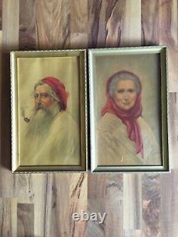 Mr and Mrs Claus Old Couple Elderly M & B Inc. NY 17.5x11.5 Signed Prints
