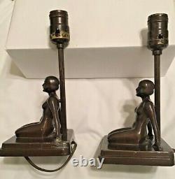 Nuart Frankart Vintage Signed Pair of Art Deco Nude Kneeling Female Figure Lamps