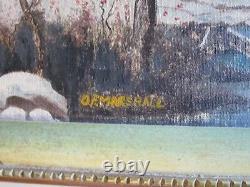 O. F Marshall Signed Pair Painting American Folk Art East Coast Winter Antique
