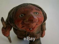 OTTO SVEEN Signed TROLL PAIR Hand Carved Wooden Norway Vintage