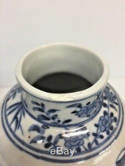Old Chinese Blue and White Porcelain Vase Pair Signed