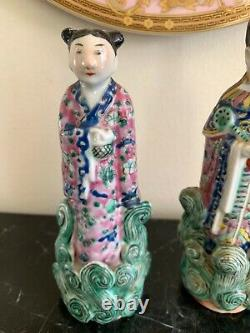 Old Pair of Chinese Famille Rose Signed Porcelain Figurines
