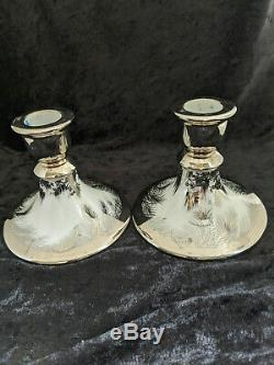 Olive Commons Miami Platinum Palm Ware Signed Candlesticks Pair