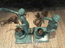 Original Frankart L206 Signed Art Deco Figural Pair Of Lamps Near Mint Condt