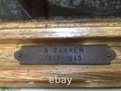 Original Pair Antique Aren Bakker (1806-1843) Dutch Painting Signed & Framed