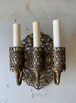 Oscar Bach PAIR of Signed Antique Bronze Candle Light Wall Sconces 2