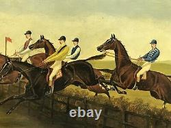 PAIR 19th century Antique Oil paintings on board HORSE RACING Jockey Signed J. D
