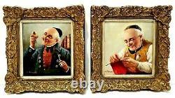 PAIR (2) ANTIQUE GERMAN SCHOOL PORTRAITS M KRAUB Sd MEN with PIPES ORIG O/B FRAMED