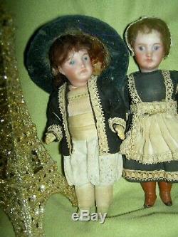 PAIR 5 antique bisque, signed Paris France SFBJ 301 jointed dollhouse dolls a/o