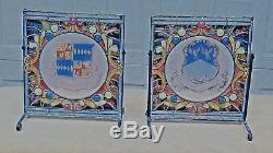 PAIR ANTIQUE 19c VERY RARE FRENCH CREST STAINED GLASS WINDOWS ON STAND, SIGNED