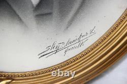 PAIR Antique 1920 pencil drawing portrait photo ancestors signed louis XVI stuc