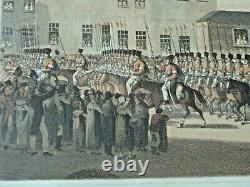 PAIR Antique Print Engravings Napoleon's Entry to Paris & Waterloo Framed Bowyer