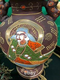 PAIR Antique Signed Japanese Satsuma Immortals Moriage Vase Foo Dog Porcelain