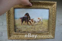 PAIR Antique oil canvas paintings hunting dogs field signed 1914