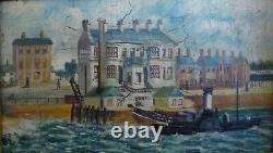 PAIR Antique signed F P Simms 1905 Oil Painting River Mersey Ferry Liverpool x 2
