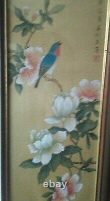 PAIR Chinese Antique Silkscreen Hand Painted Framed Pictures (Qing Dynasty) V. G