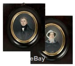 PAIR LG Antique Signed French Portrait Miniature (2), Couple, Adele de La Hitte