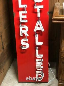 PAIR Porcelain NEON Signs MUFFLERS INSTALLED BRAKES SERVICED Vintage Old Antique