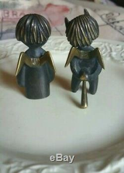 PAIR Signed Angel + Devil HAGENAUER vintage made in Austria Sculptures MCM DECO