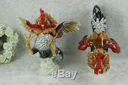 PAIR Vintage porcelain 1970 Rooster cocks fights figurines animals algora signed