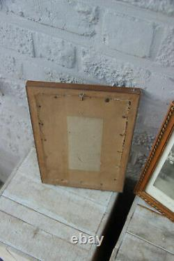 PAIR antique Azambre signed Engraving Religious family saint joseph framed