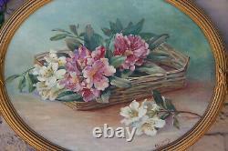 PAIR antique art nouveau oil canvas oval painting floral theme signed rare