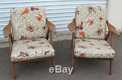 PAIR of MID CENTURY MODERN DANISH TEAK LOUNGE CHAIRS signed MADE IN DENMARK