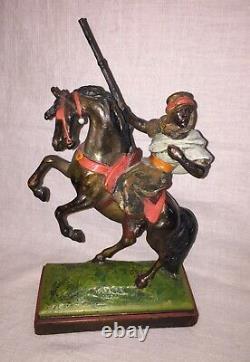 PAUL HERZEL Bookends Pair Bedouin Warriors on Horse, Pompeian Bronze, Signed