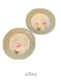 Pair (2) Rare Antique ROYAL WORCESTER Pink Flamingo Plates Signed P O W E L L