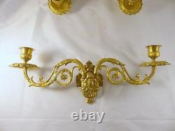 Pair Antique 19th Bronze Signed French Sconce Candlesticks Chandelier 1900