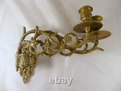 Pair Antique 19th Bronze Signed French Sconce Candlesticks RARE Dragon Bacchus