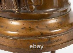 Pair Antique 19th Century French Signed F. Barbedienne Bronze Lamps On Stands