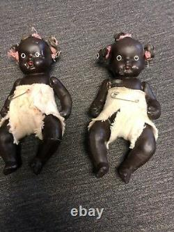 Pair Antique 30's Signed Japan African American Jointed Bisque 4'' Baby Doll