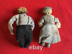 Pair Antique African American Doll Man & Woman Husband Wife Folk Art Americana