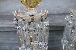 Pair Antique Baccarat Olive Green & Gold Candle Holder Lustre Crystal 14 H