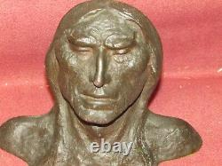 Pair Antique Bronze Indian Chief Bookends signed West Sculpture American