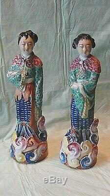 Pair Antique Chinese Export Porcelain Glazed Young Women Figures Marked