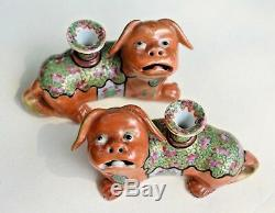 Pair Antique Chinese Export Rose Famille Foo Dog Temple Lion Joss Stick Holder