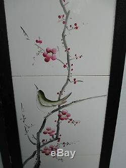 Pair Antique Chinese Framed Tiles Signed Bird & Floral Scene