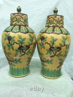 Pair Antique Chinese Porcelain Famille Rose Vases Signed Republic