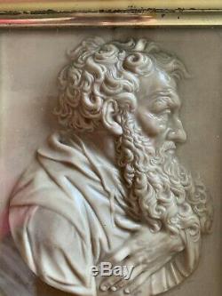 Pair Antique Framed Porcelain Figural Plaques Wall Art Greek -italian Signed