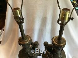 Pair Antique French Louis XV Rococo Figural Table Lamps Signed Moreau