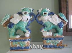 Pair Antique Glazed Pottery Handmade Foo Dogs