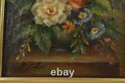Pair Antique Oil Paintings on Board of Floral Still Life by P. Calos Framed