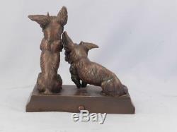 Pair Antique Sottish TerrierScottieScotty Dogs Bronzed SculptureSigned CROSS