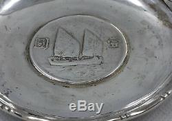 Pair Antique Sterling Silver Signed Chinese Coin Dish, 119 grams