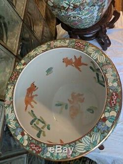 Pair Antique Style HUGE 1900s Hand Painted Chinese Jardiniere Fish Bowl signed