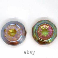 Pair Antique Tiffany Studios Art Nouveau Favrile Glass Gold Salt Dips 1905