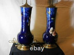 Pair-Antique c1860-88 Montigny Sur Loing French Barbotine Majolica Signed Lamps