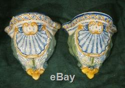 Pair Antiques Henriot Quimper France Wall Vase Stand Signed and Marked